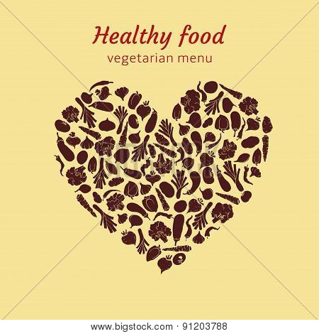 Healthy vegetable heart of silhouette of vegetables. vector illustration