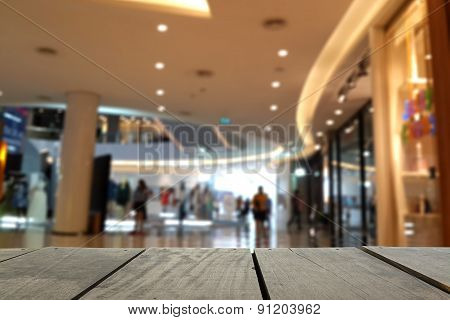 Blur Image Of Terrace Wood And Beautiful Shopping Mall