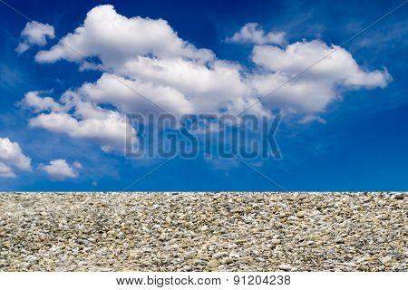 White Cloudscape And Stone