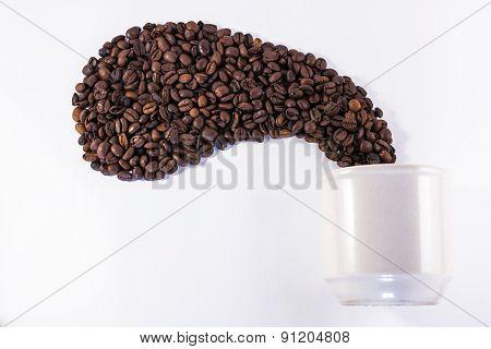White Coffee Mug And Roasted Bean Aroma Shape