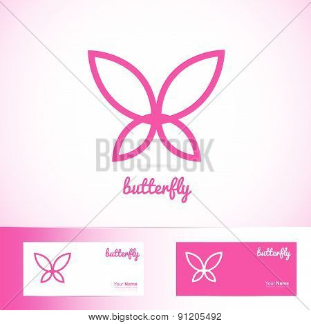 Simple pink butterfly for spa, beauty and wellness products