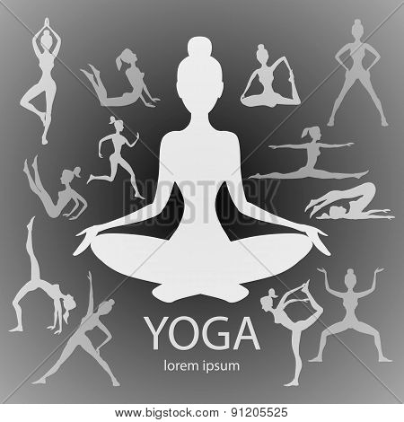 Yoga Poses Silhouettes  Vector, Body, Pose, Female,