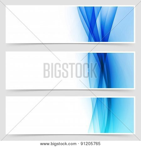 Blue Fluid Line Abstract Modern Header Set