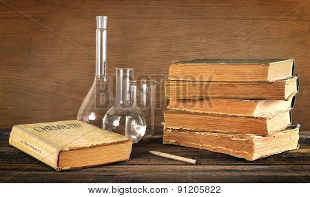 Old Books And Chemical Glassware