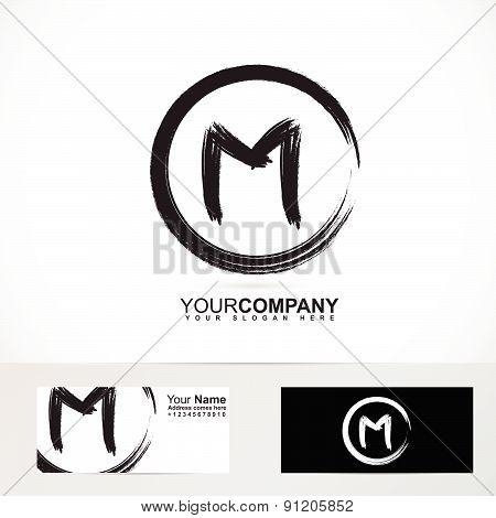 Letter M grunge circle logo