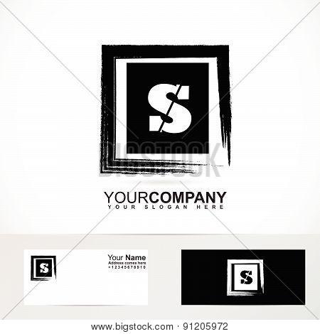 Letter S logo grunge square