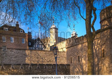 LONDON, UK - APRIL15, 2015: Tower of London (started 1078), fortress and house of Royal Crown Jewels