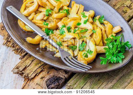 Fried Mushrooms With Fresh Parsley