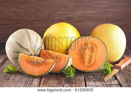 melon on wood background