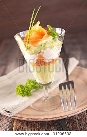 avocado cream with cheese and smoked salmon