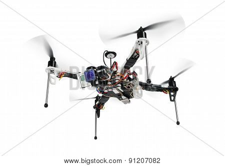 Qvadrocopter On White Background.