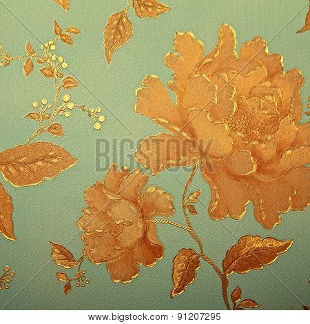 Vintage Blue Wallpaper With Golden Rose Pattern