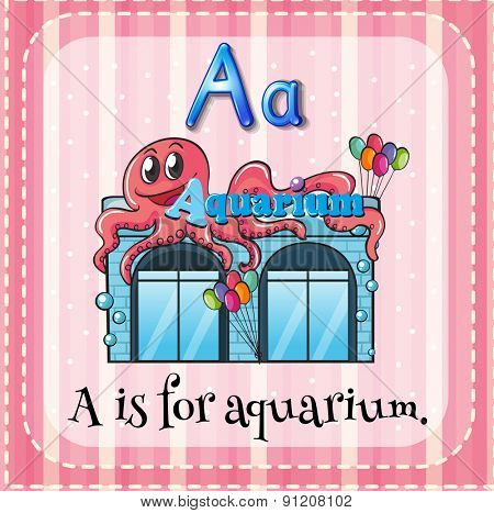 Flashcard letter A is for aquarium