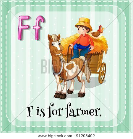 Flashcard letter F is for farmer