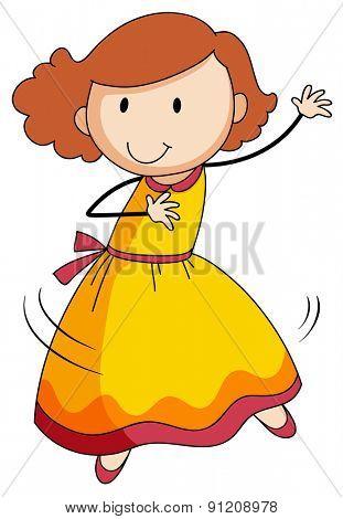 Happy girl in yellow dress dancing alone