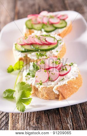 bread with radish,canape or bruschetta