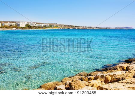 Turquoise sea water of Cyprus coast.