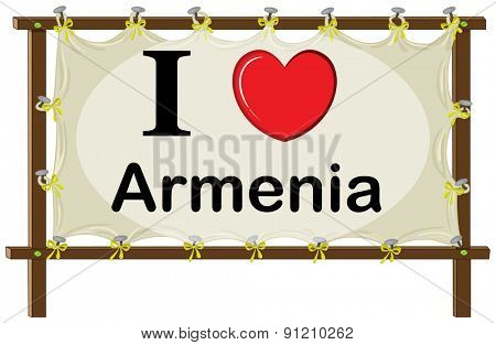 I love Armenia sign in wooden frame