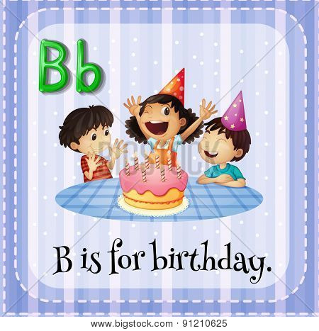 Flashcard letter B is for birthday