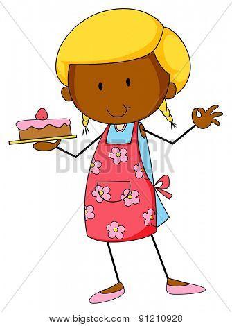 Closeup happy girl baking cake