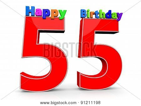 The Big Red Number 55 With Happy Birthday