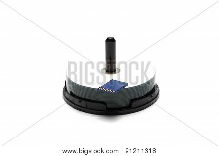 Sd Card With Stack Of Dvd Dish