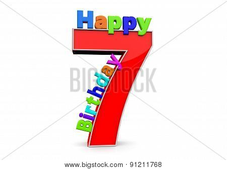 The Big Red Number 7 With Happy Birthday