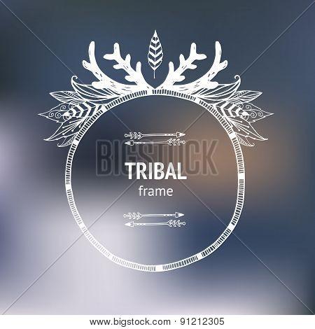 Vector hand drawn tribal frame