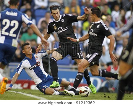 BARCELONA - MAY, 17: Gareth Bale of Real Madrid of during a Spanish League match against RCD Espanyol at the Power8 stadium on Maig 17 2015 in Barcelona Spain
