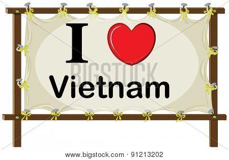 I love vietname sign in wooden frame