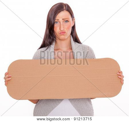 holding blank copy space sign