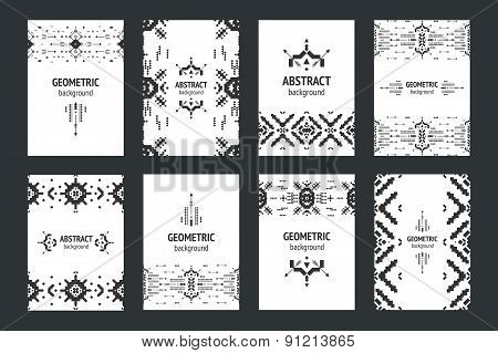 Set of geometric flyers, hipster background with tribal elements