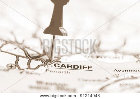 Cardiff City On Map, Wales