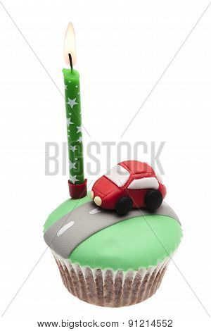 Cupcake With Car Icing Isolated On A White Background