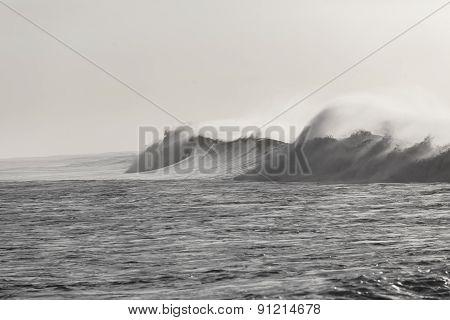 Wave Crashing Black White Vintage