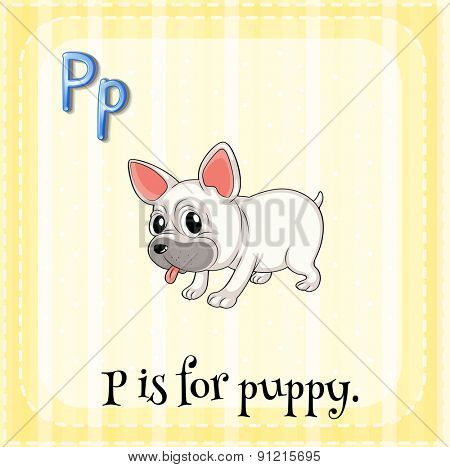 Flashcard letter P is for puppy