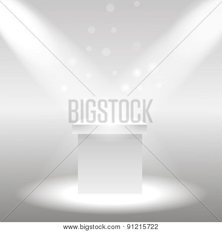 Single empty pedestal or column under the rays projectors. Vector illustration