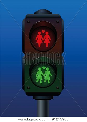 Lesbian Couple Pedestrian Light Traffic