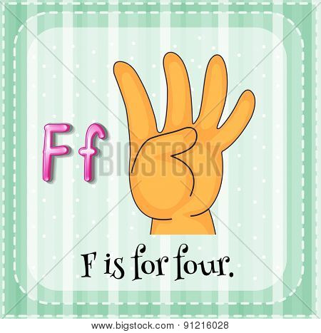 Flashcard letter F is for four