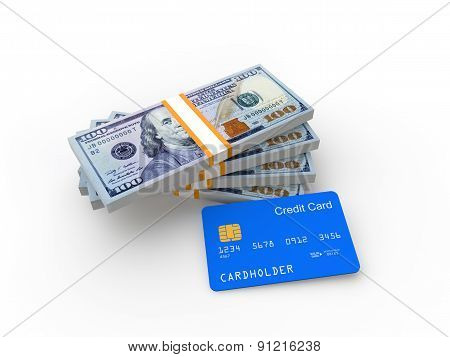 Credit card and money