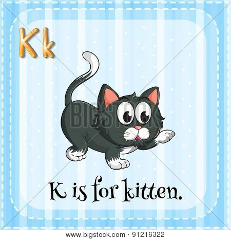 Flashcard letter K is for kitten