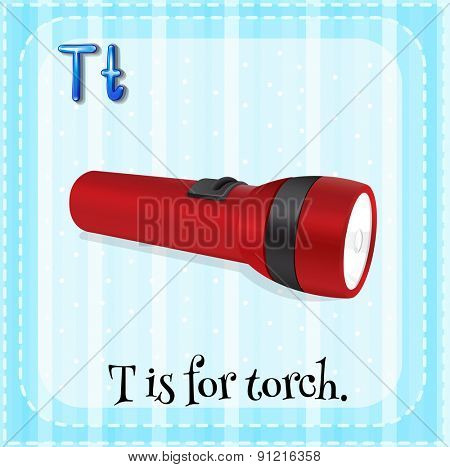 Flashcard alphabet T is for torch