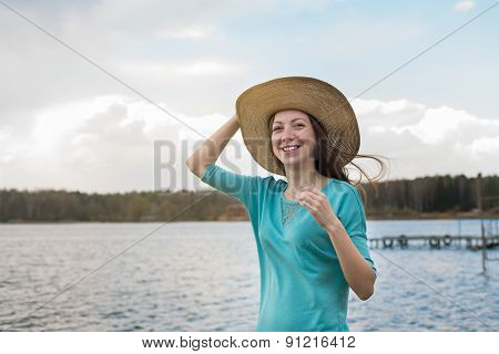 Freckled Girl In Hat Smiling