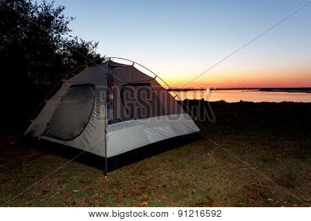 Camping On Zambezi River With Many Crocodiles In Namibia