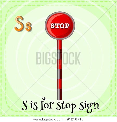 Flashcard alphabet S is for stop sign