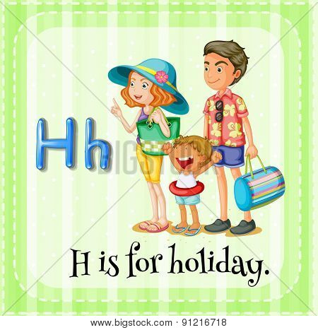 Flashcard alphabet H is for holiday