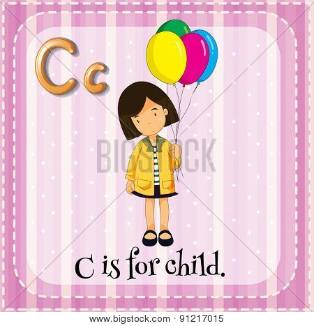 Flashcard alphabet C is for child