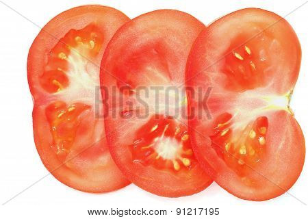 Sliced Tomato On White