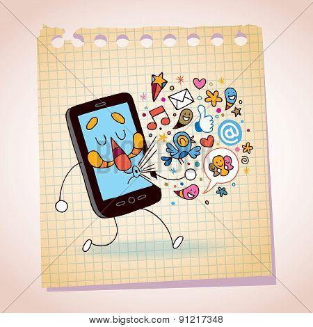 mobile phone note paper cartoon sketch
