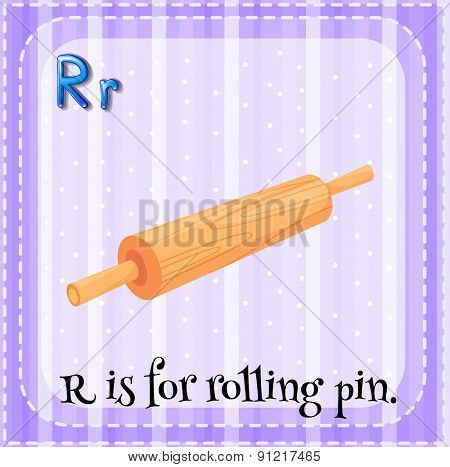 Flashcard alphabet R is for rolling pin